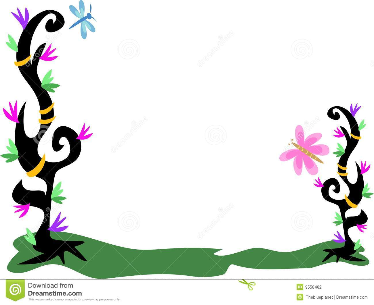 frame of tattoo plants flowers rings dragonfly stock