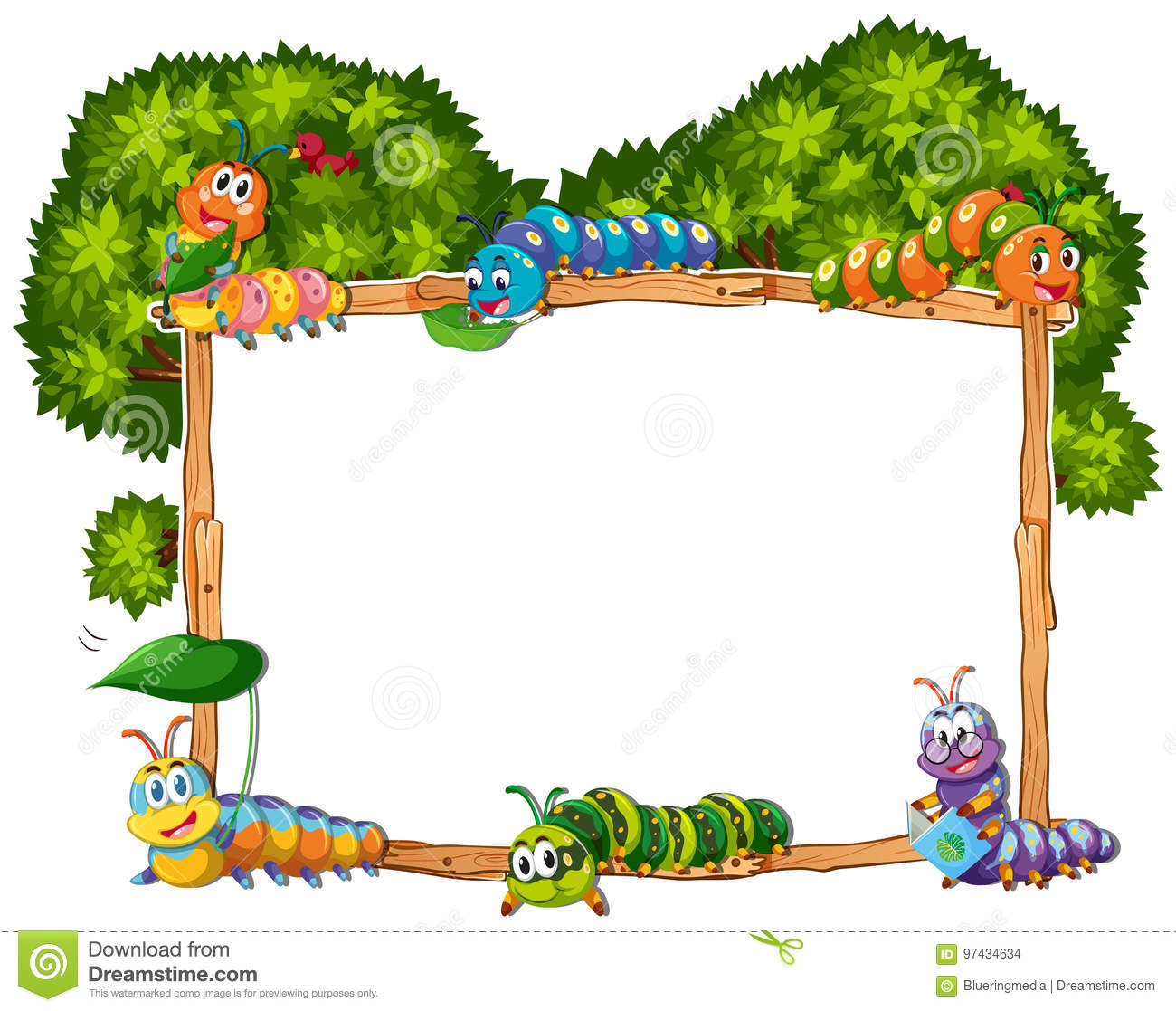 frame template with caterpillar and tree stock vector illustration