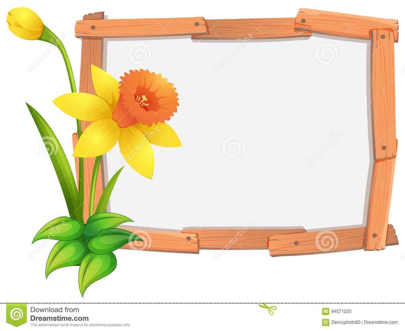 frame template with yellow daffodil flowers stock vector