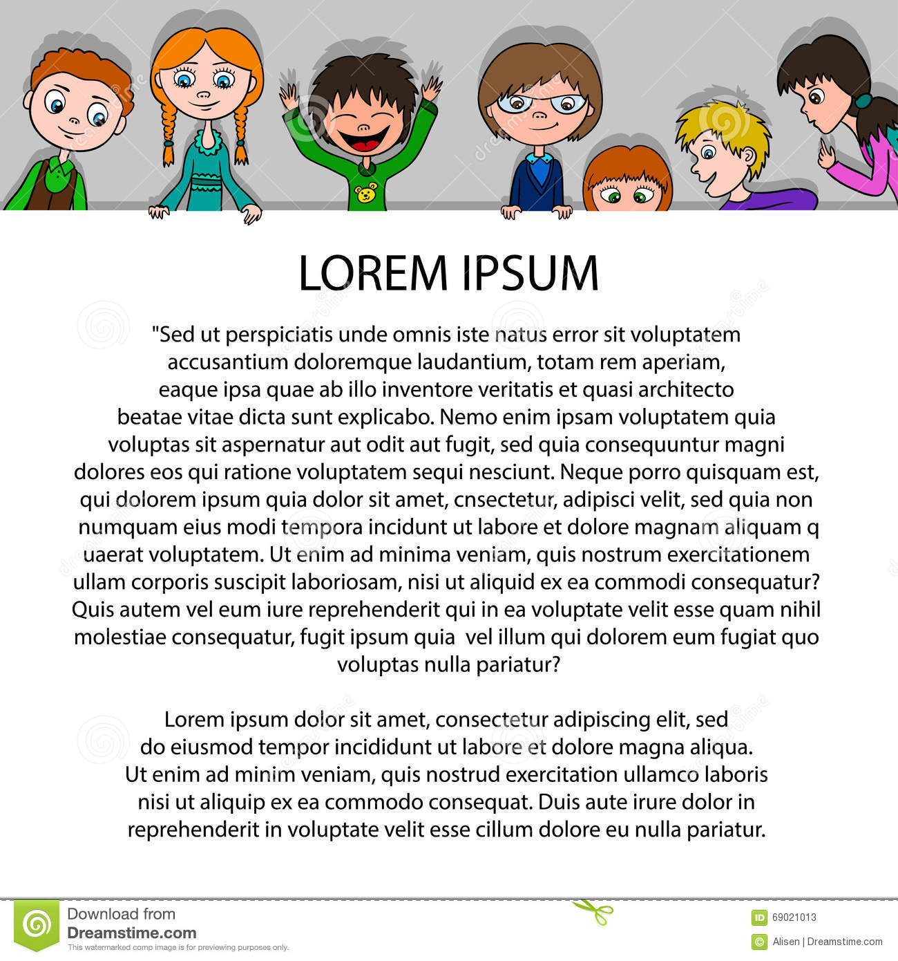 frame for text in cartoon style with funny kids on paper template