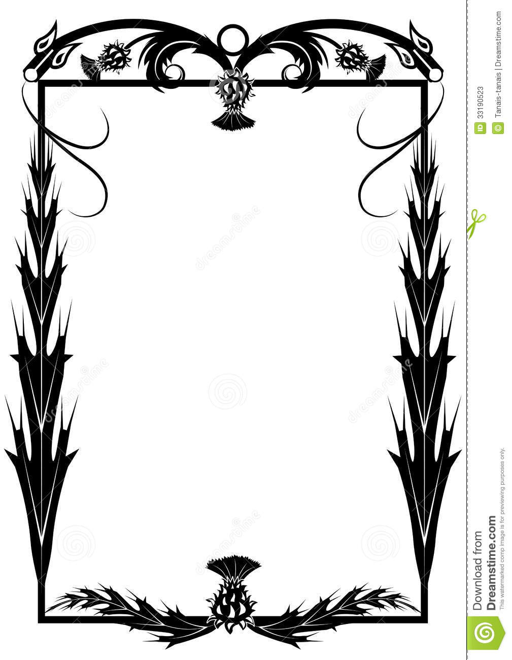 Frame With Thistle And Dragons Stock Vector - Illustration of dragon ...