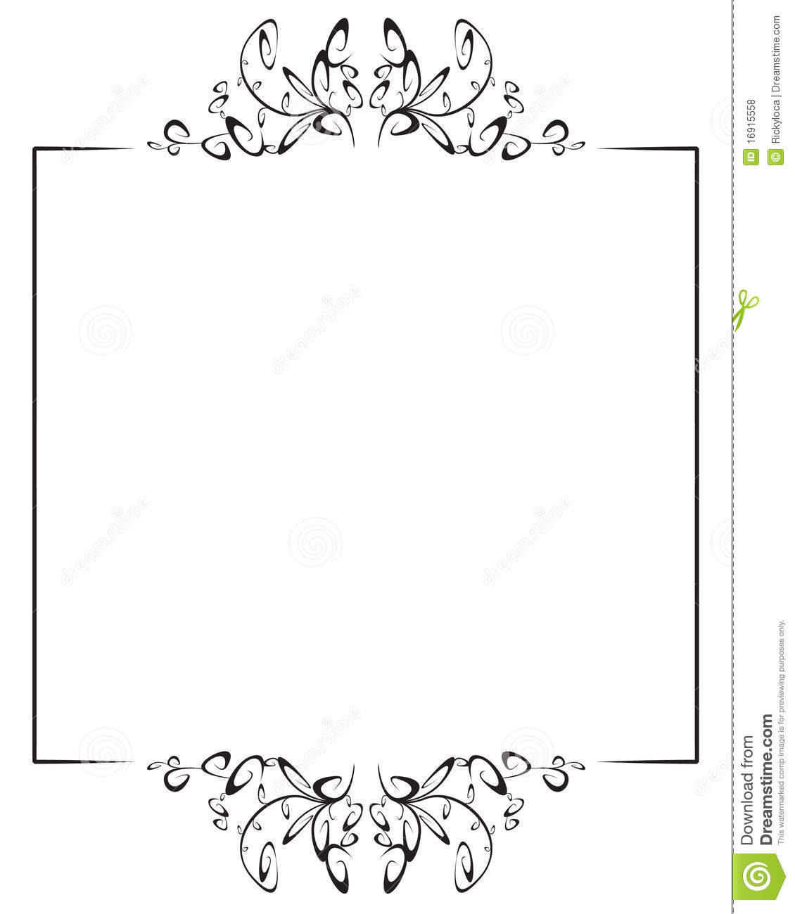 . Frame With Top And Bottom Decoration Stock Vector   Illustration of