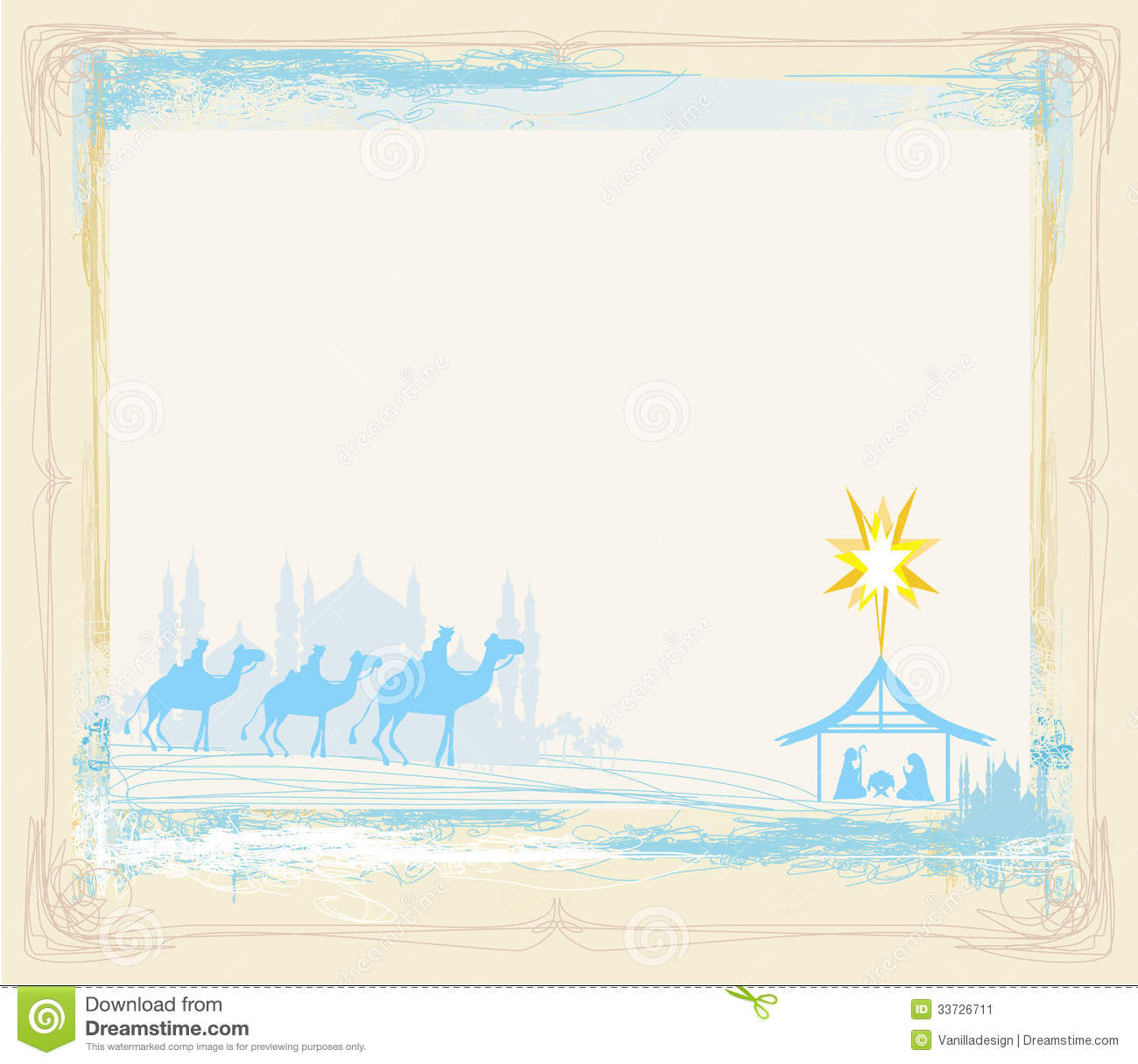 Stock Image: Frame with traditional Christian Christmas Nativity scene