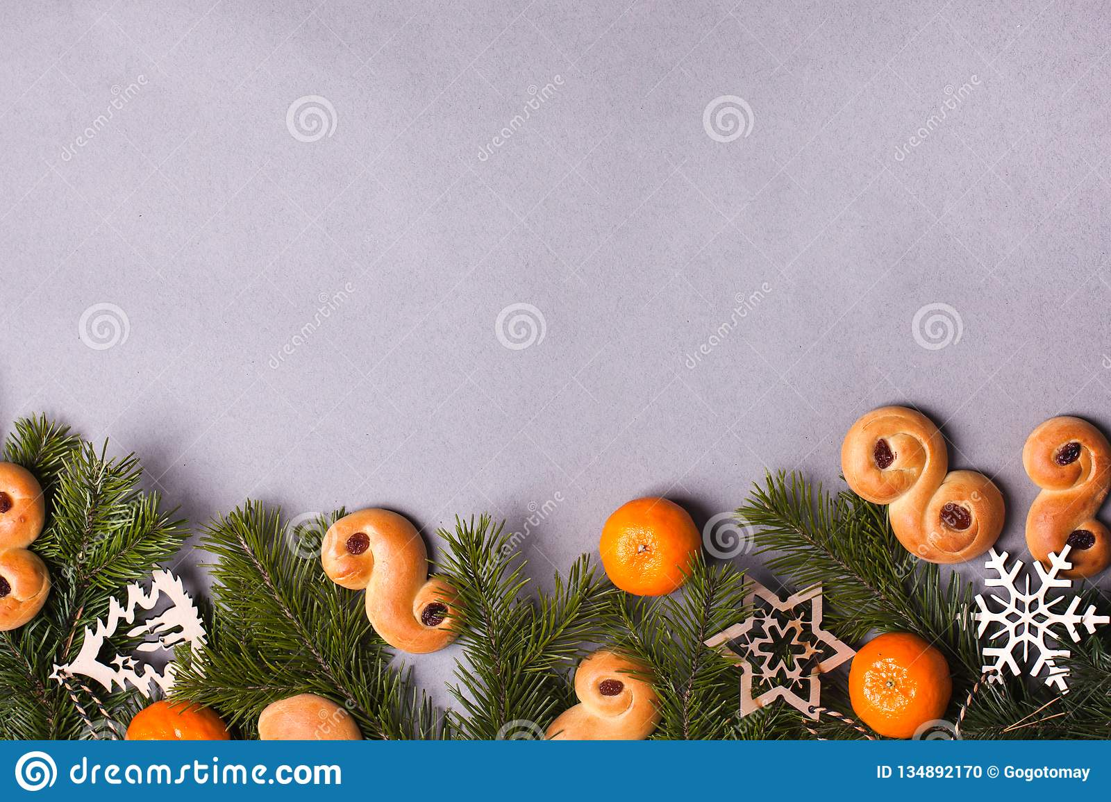 Swedish Christmas Decorations.Traditional Swedish Christmas Saffron Buns Lussebulle Or