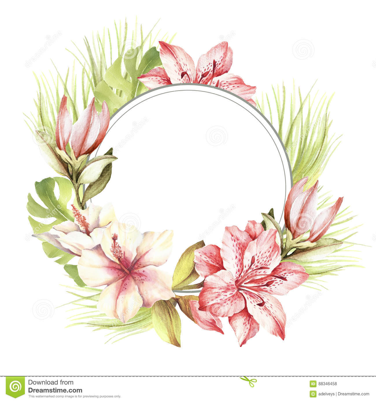 Frame With Tropical Flowers And Leaves Hand Draw Watercolor