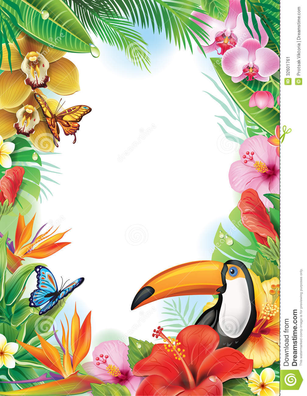 frame with tropical flowers and toucan stock vector illustration of toucan  frame 32601761 hibiscus flower clipart hibiscus flower clip art free