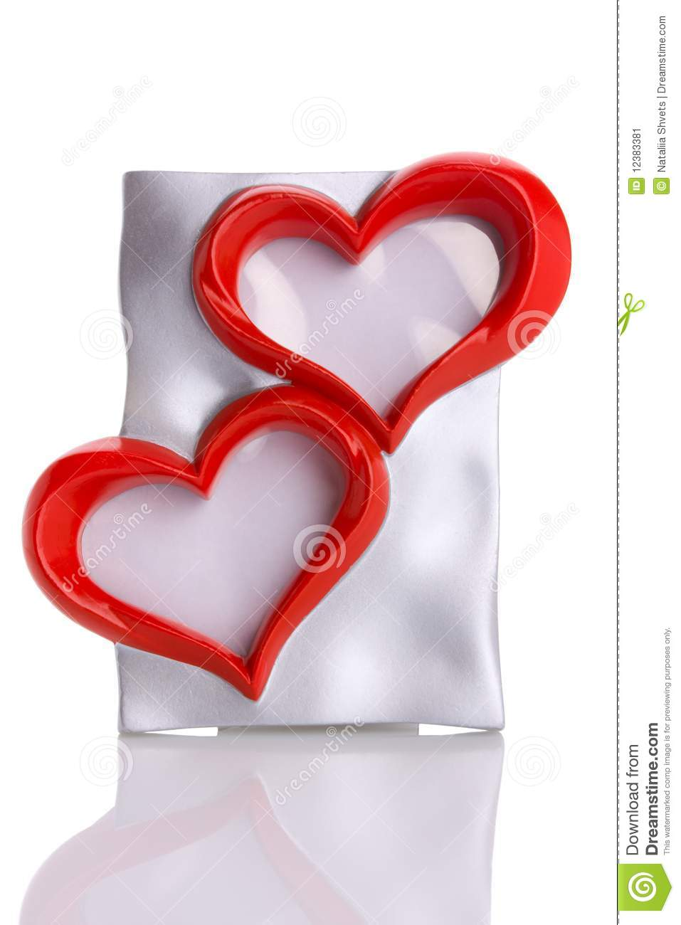 Frame, Two Heart Shape Isolated On White Stock Image - Image of ...