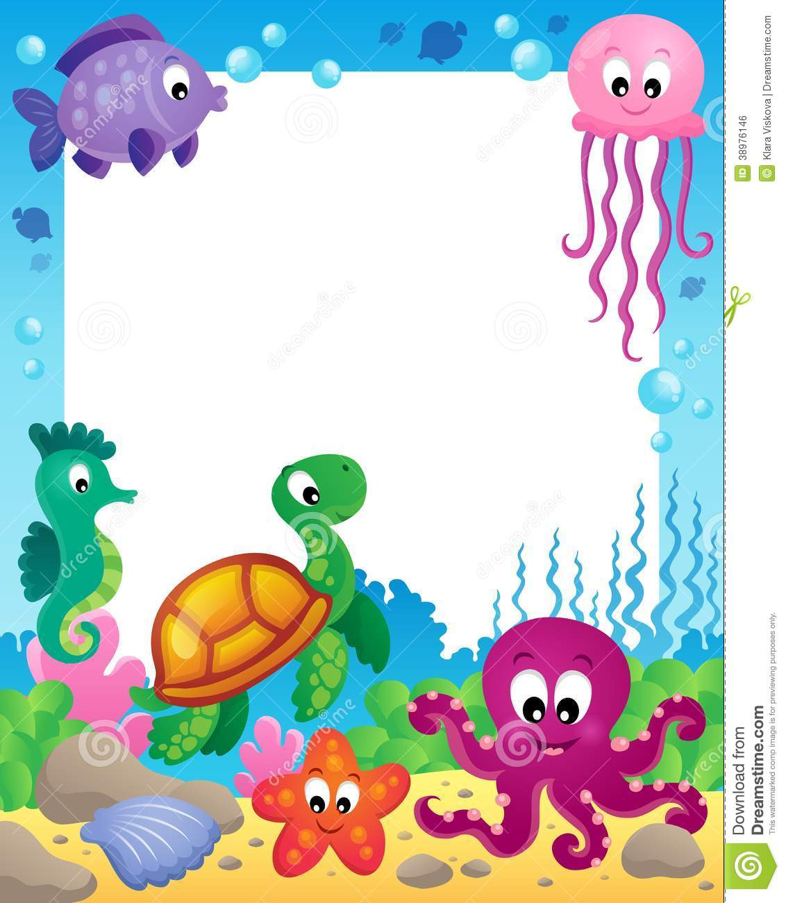 frame with underwater animals 3 stock vector image 38976146 free octopus clipart free octopus clipart