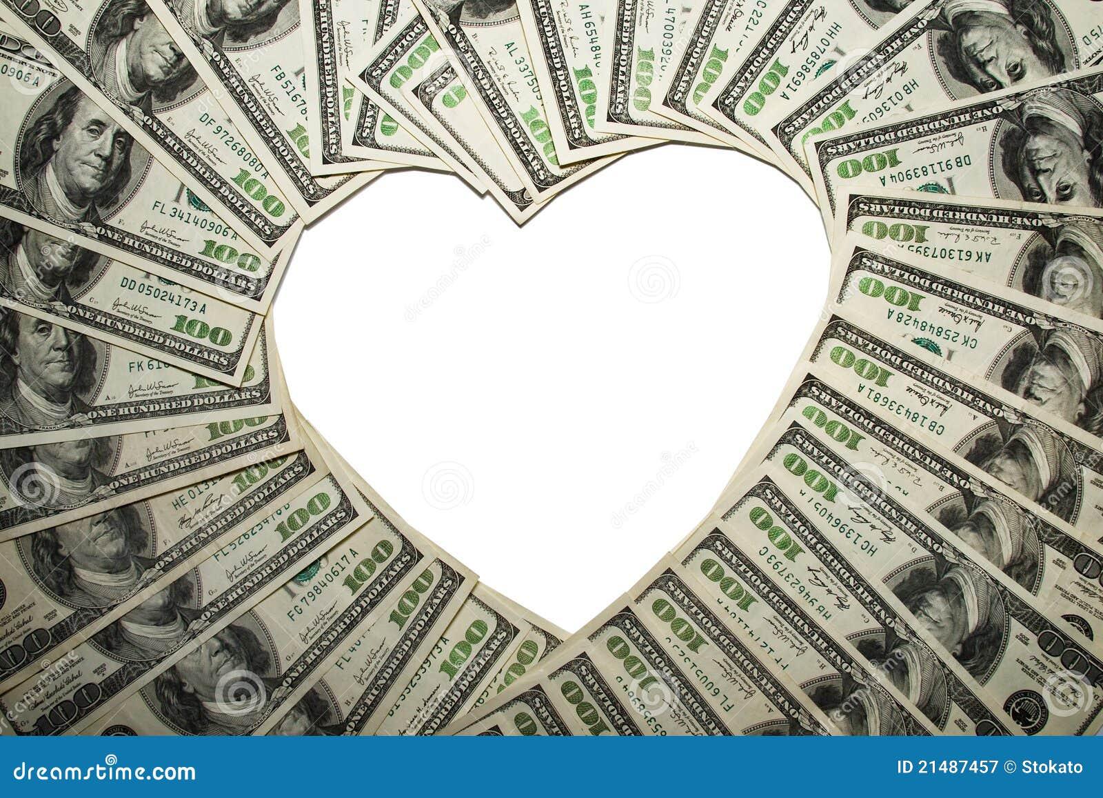 Frame van dollars in vorm van hart,