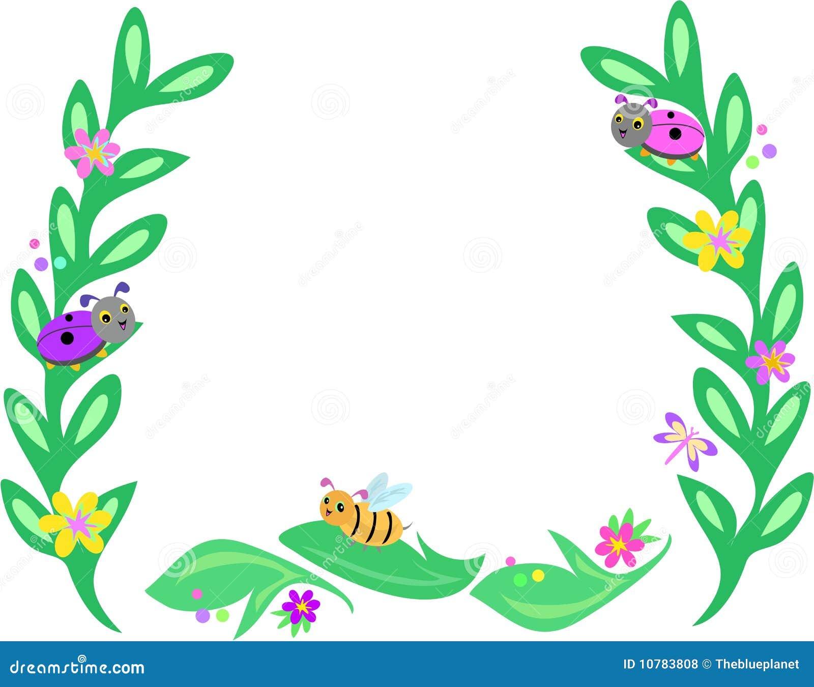 Frame van Grote Bladeren, Bijen, Lieveheersbeestjes, en Butterfli