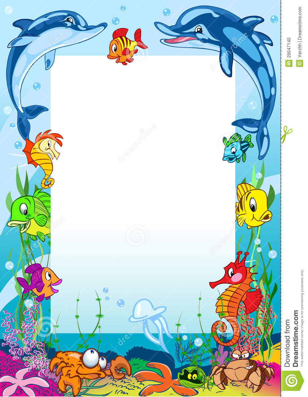 Garden gate plans - Frame With Various Sea Animals Stock Photo Image 29047140