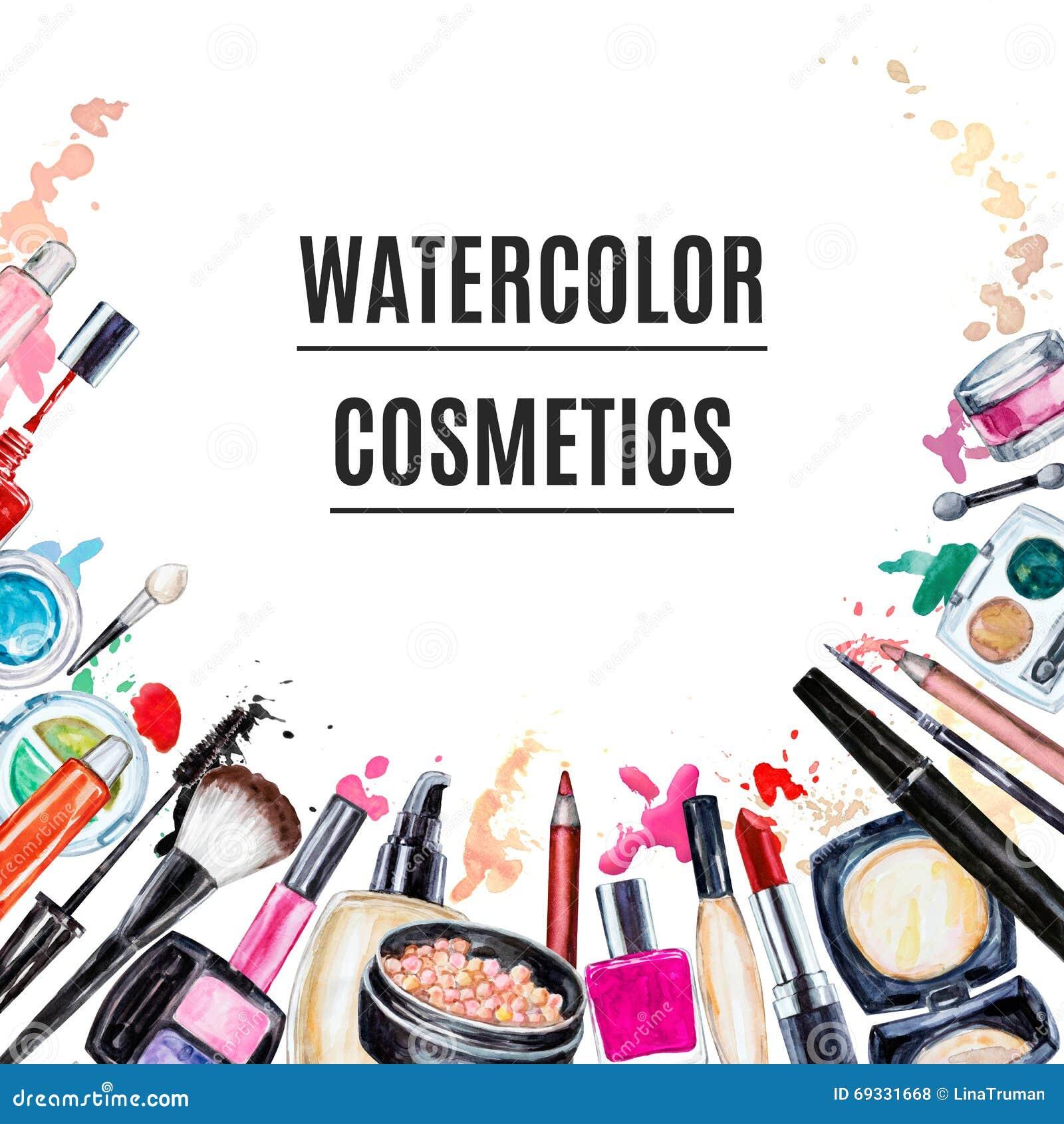 Frame Of Various Watercolor Decorative Cosmetic. Makeup