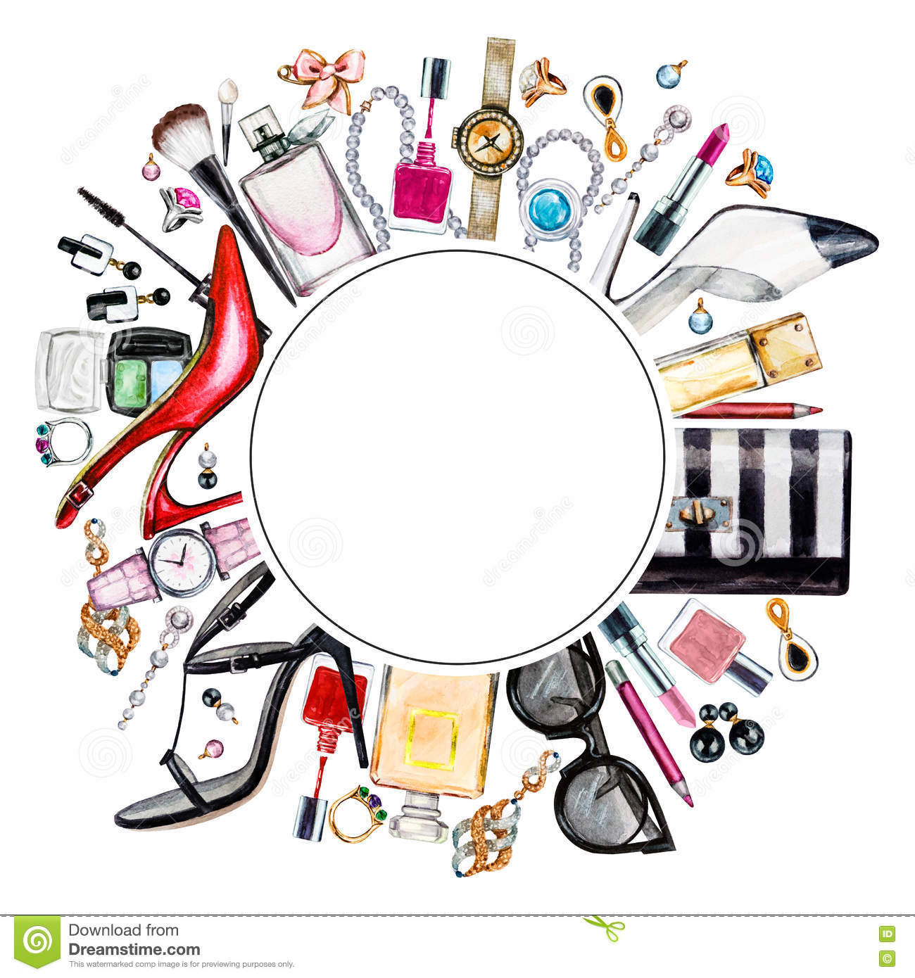 Frame of various watercolor female accessories. Makeup products