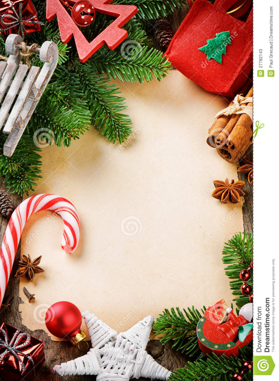 Frame With Vintage Christmas Decorations Stock Image - Image of ...