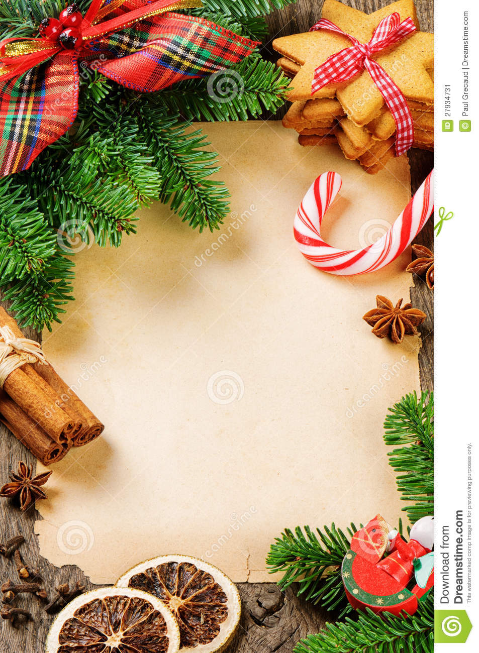 Frame with vintage christmas decorations stock image for Christmas decoration items list