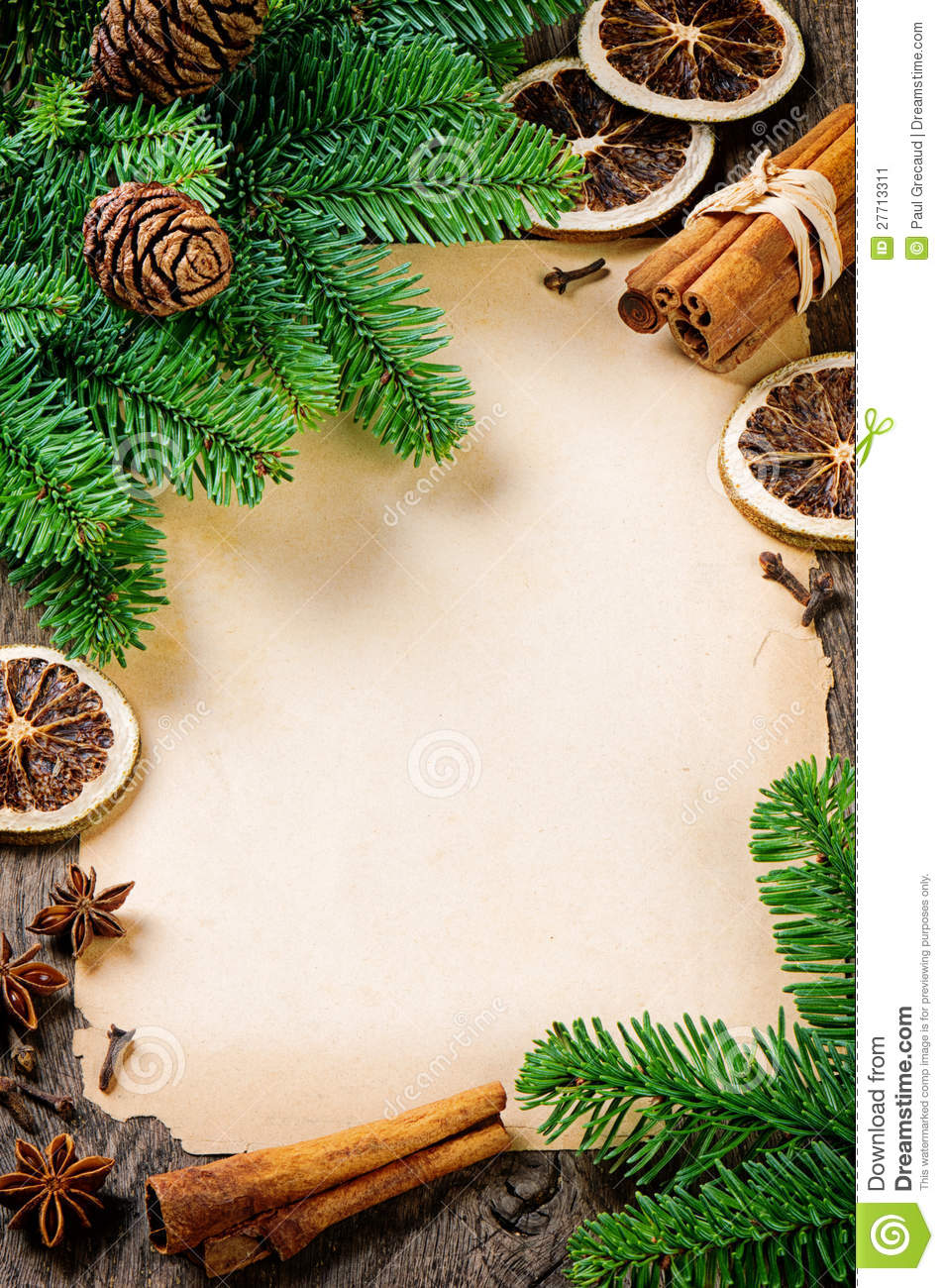 Frame With Vintage Paper And Christmas Tree Stock Image