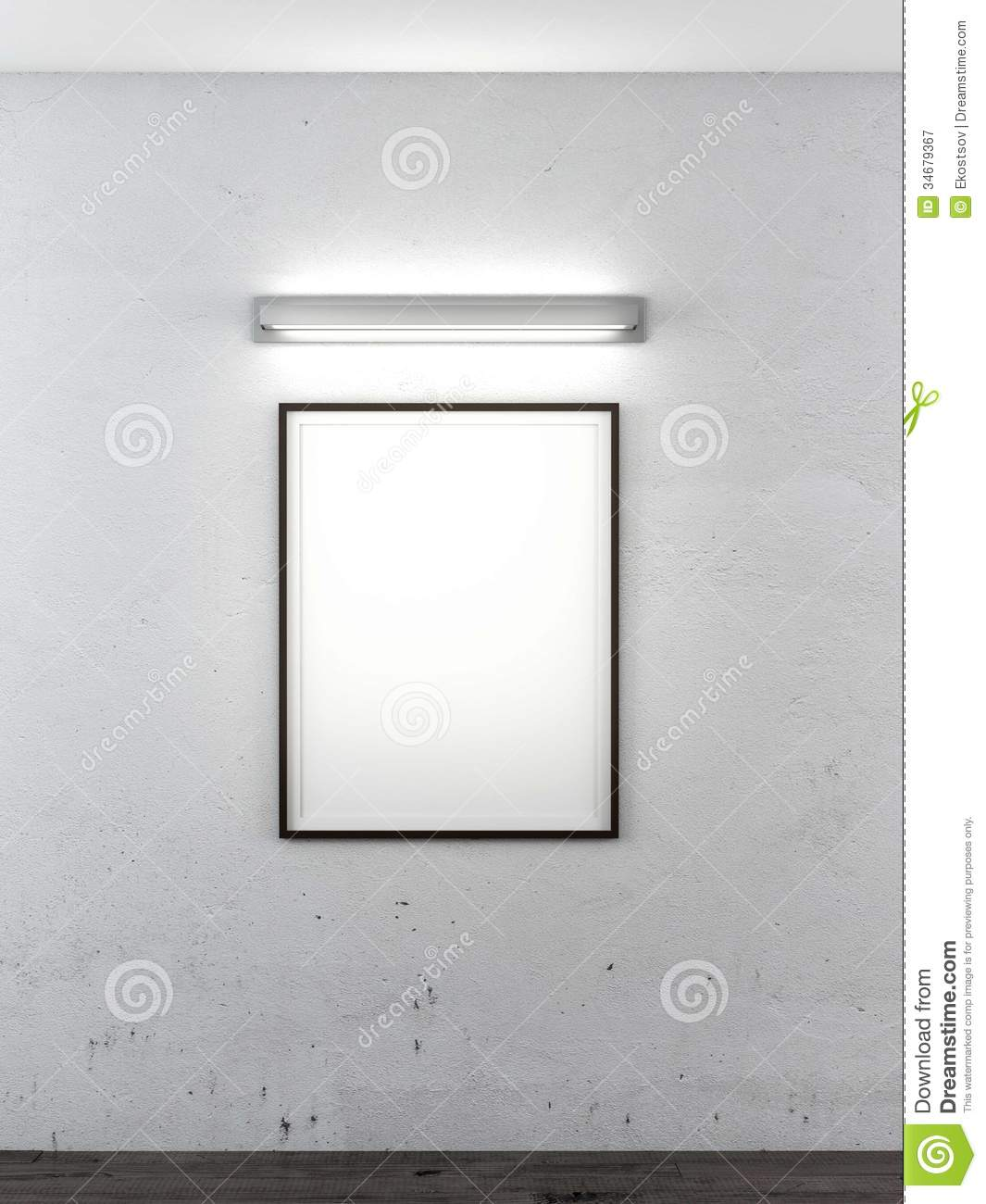 Frame On Wall With Lamp Royalty Free Stock Photography