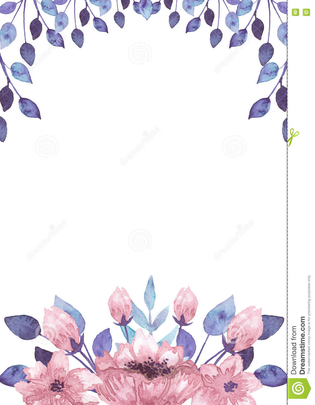 Frame With Watercolor Pink Flowers And Blue Leaves Stock