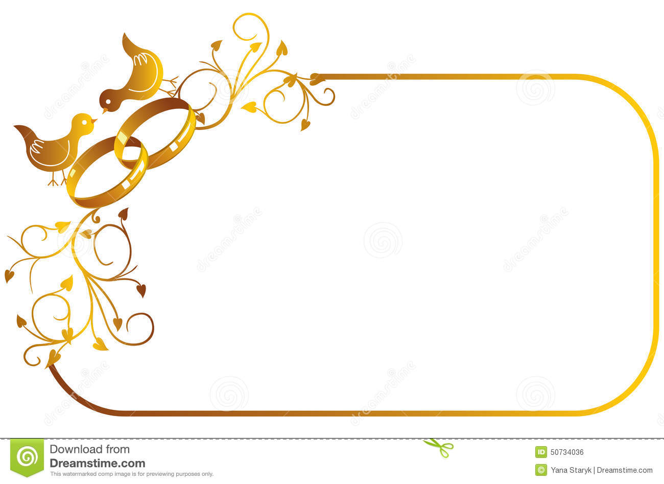 Frame with wedding ring and birds stock vector image 50734036