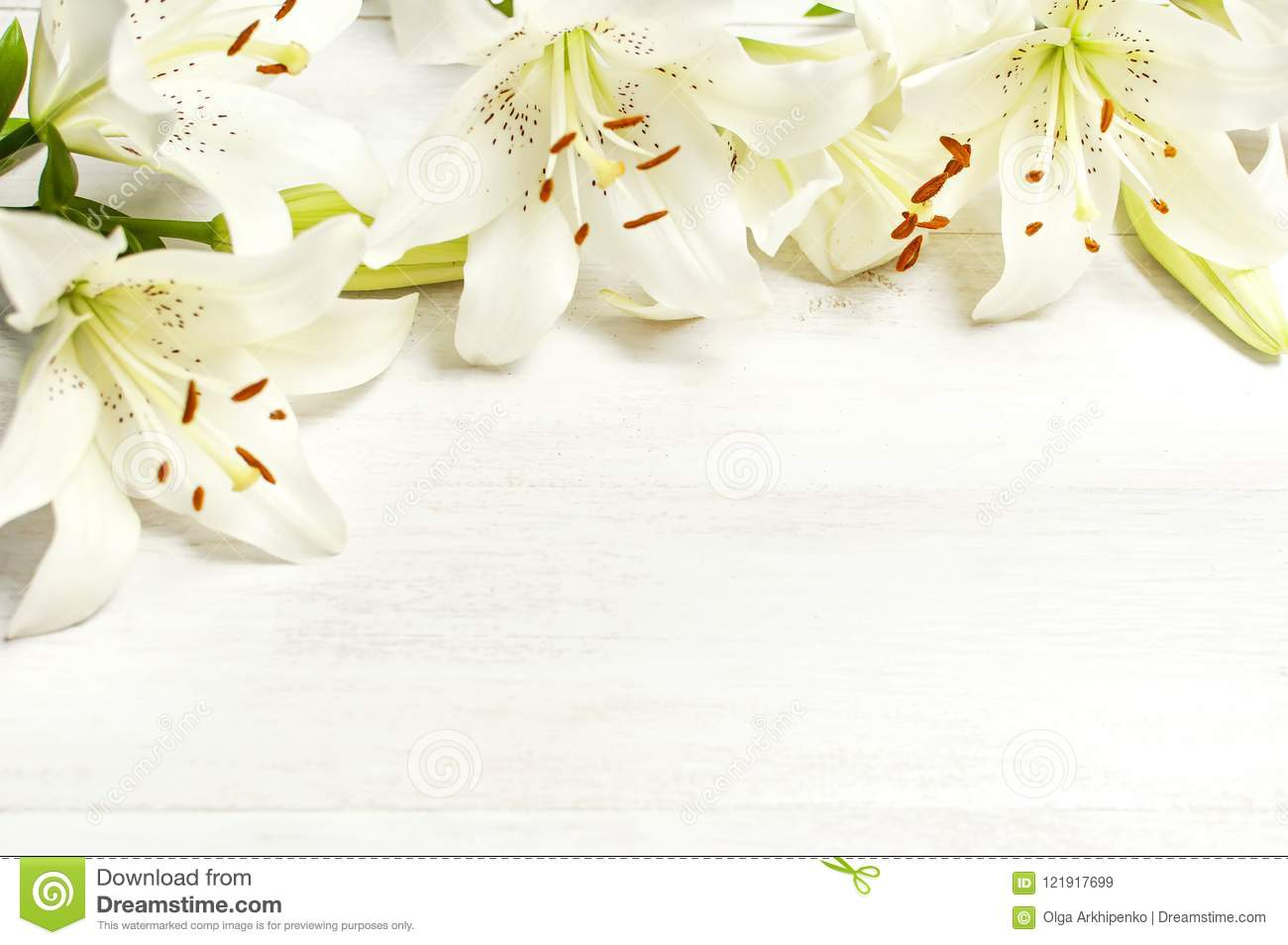 Frame of white lilies on a white wooden background top view flowers frame of white lilies on a white wooden background top view flowers lily beautiful bouquet white flowers floral background concept holiday izmirmasajfo