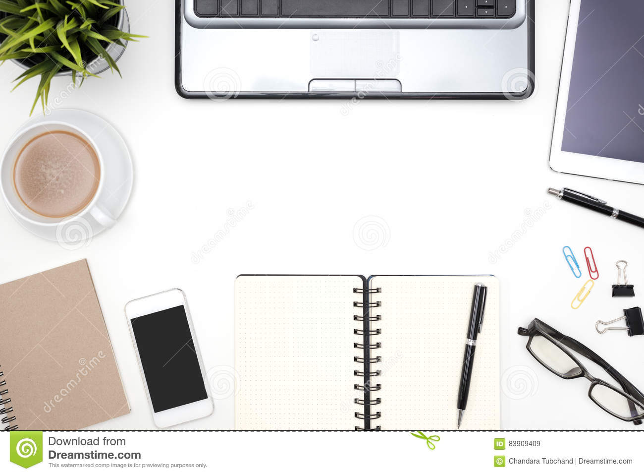 Frame Of White Office Desk Table Background Stock Image