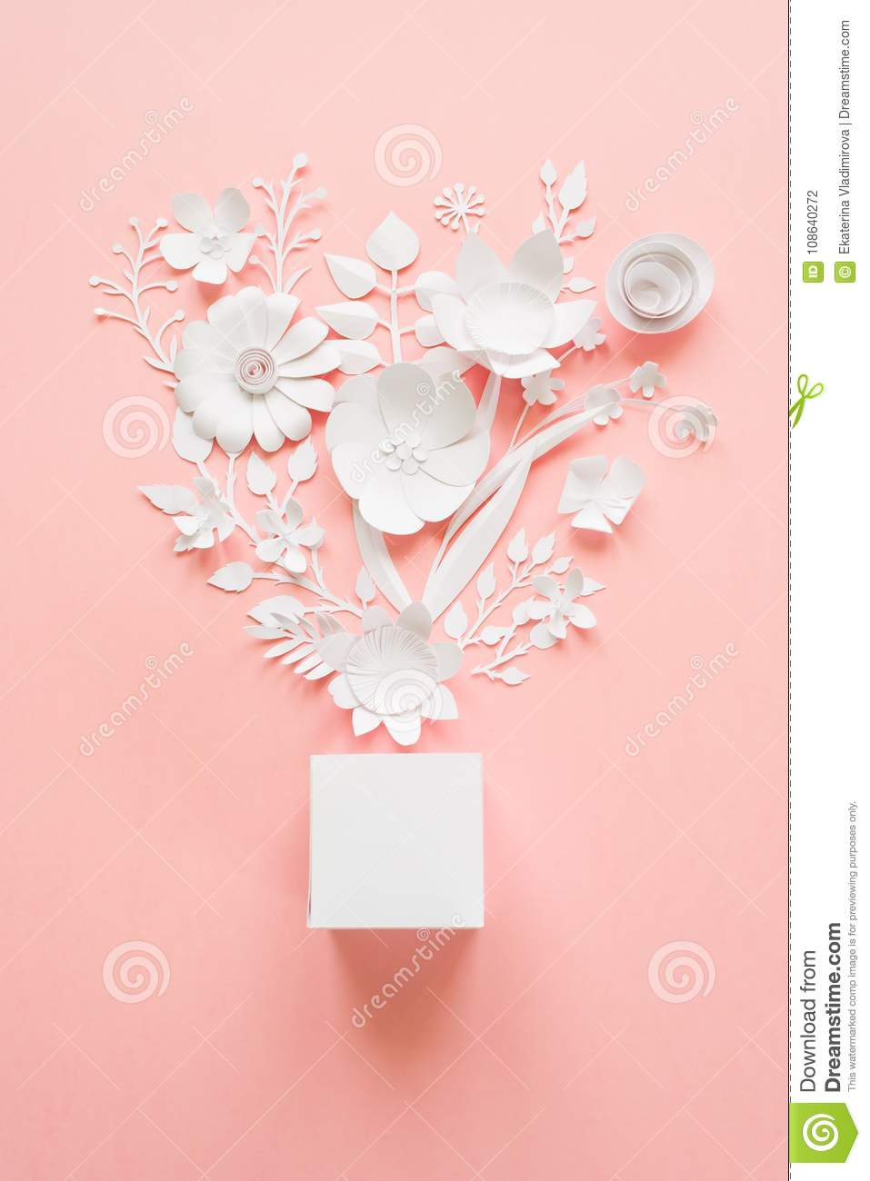 Frame With White Paper Flowers Stock Photo Image Of Bouquet Lace