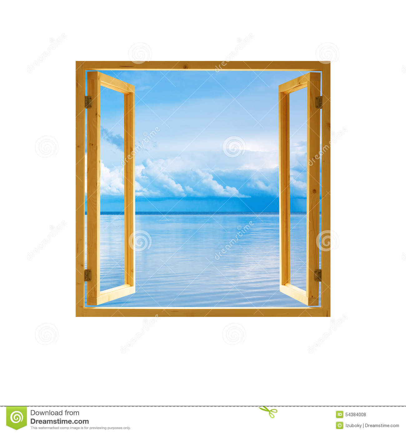 Frame window open wooden sky water clouds view stock photo for Fenetre ouverte