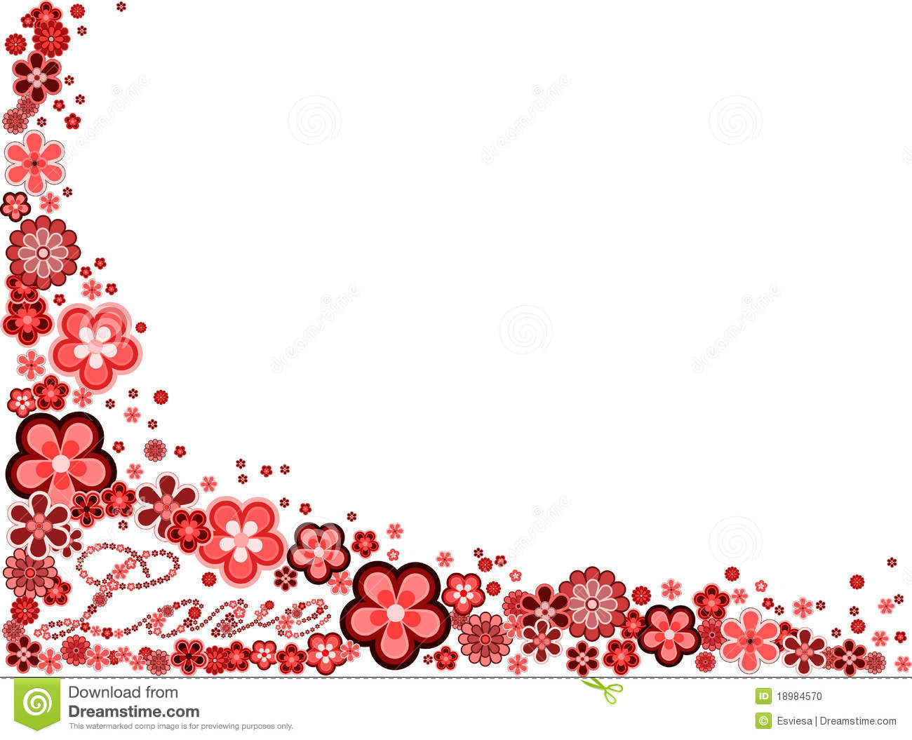 frame with word love made from many flowers stock photo
