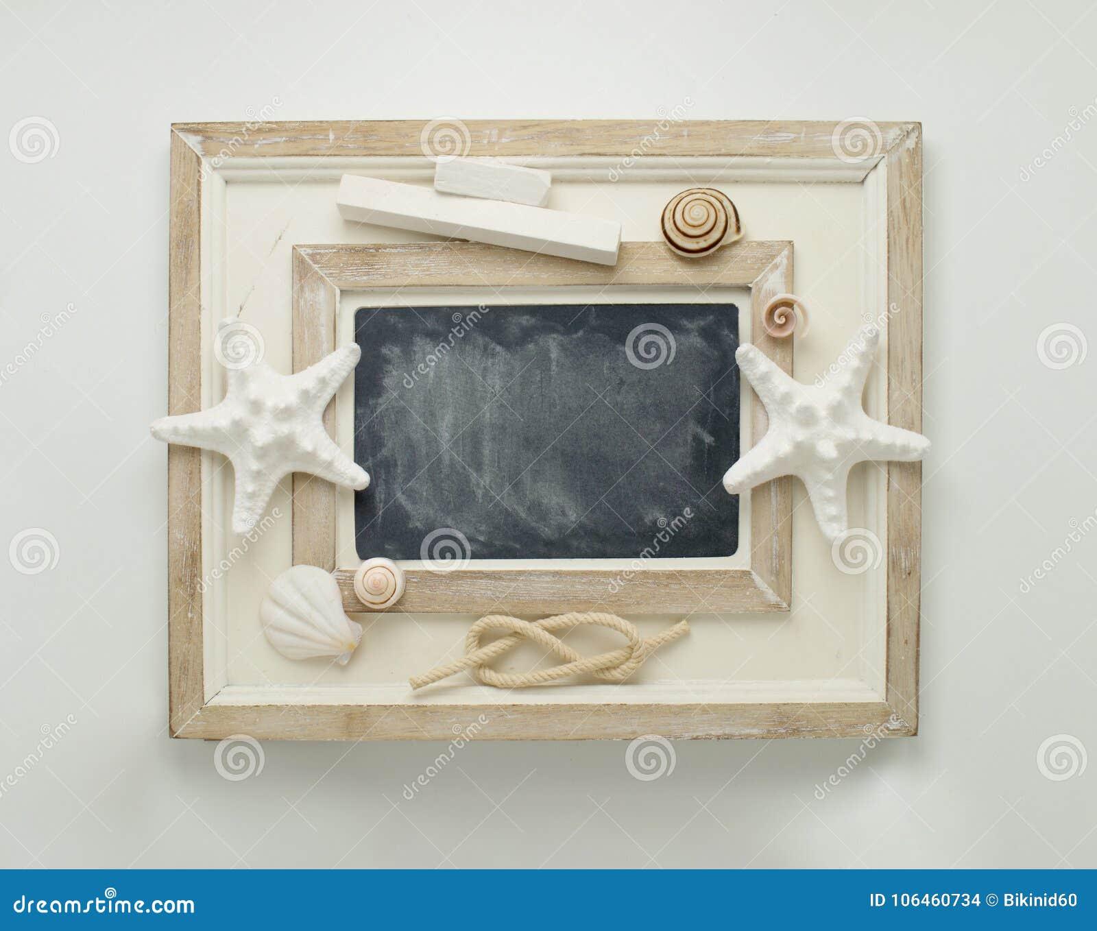 Marine Decorated Chalkboard. Stock Photo - Image of space, frame ...