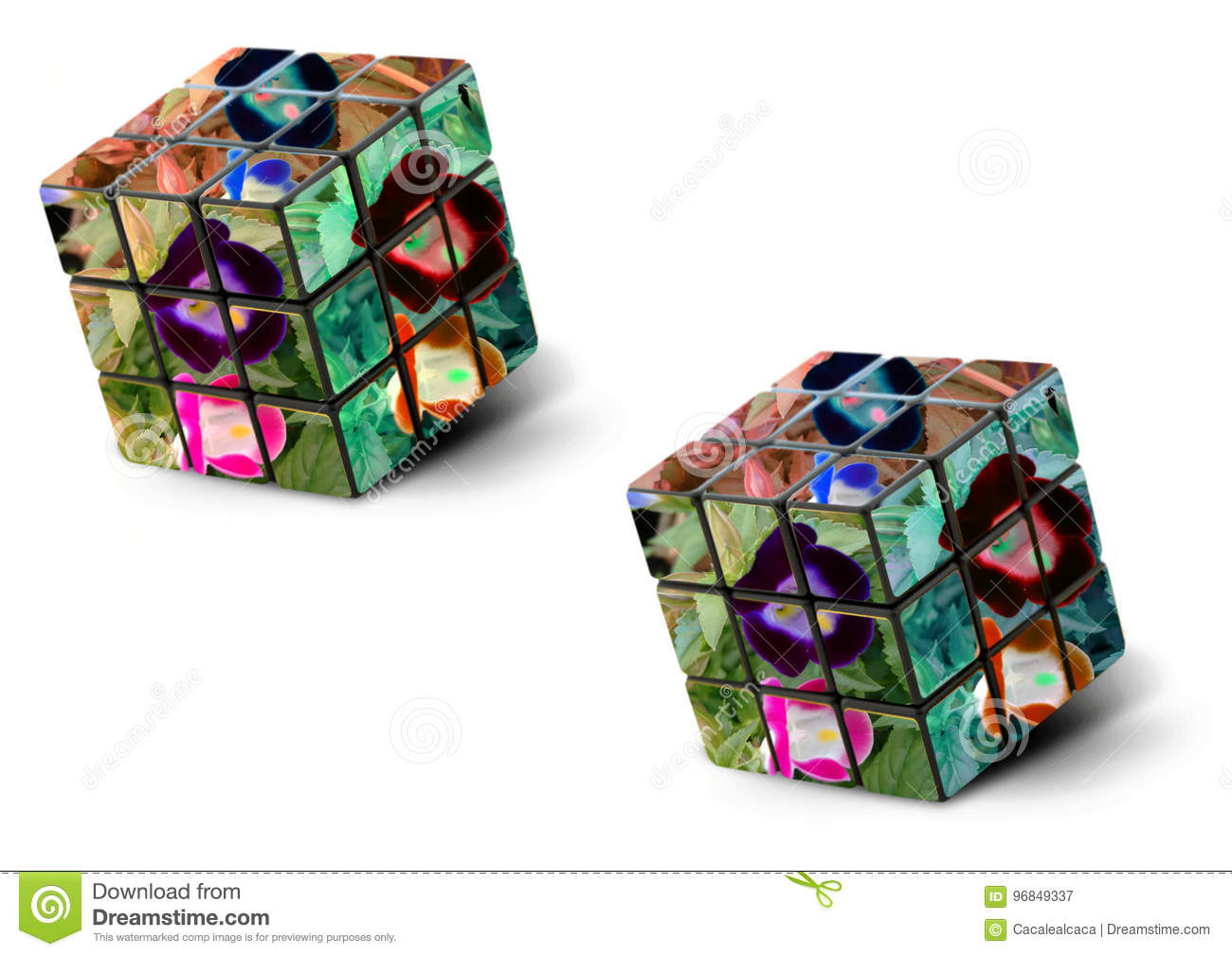 Framed Photo Collage - Flower - Cube Stock Illustration ...