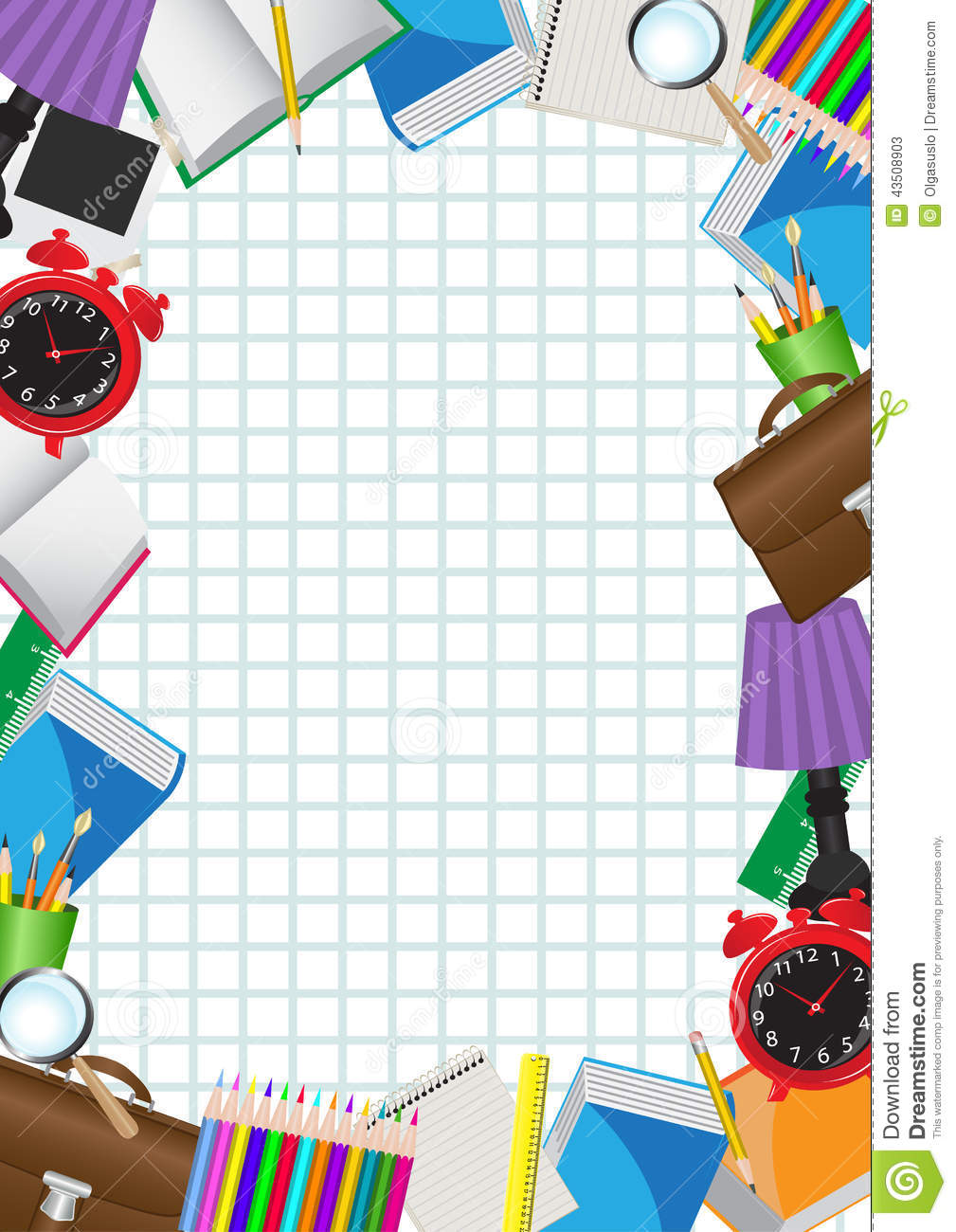 Framed With School Supplies Stock Vector Image 43508903