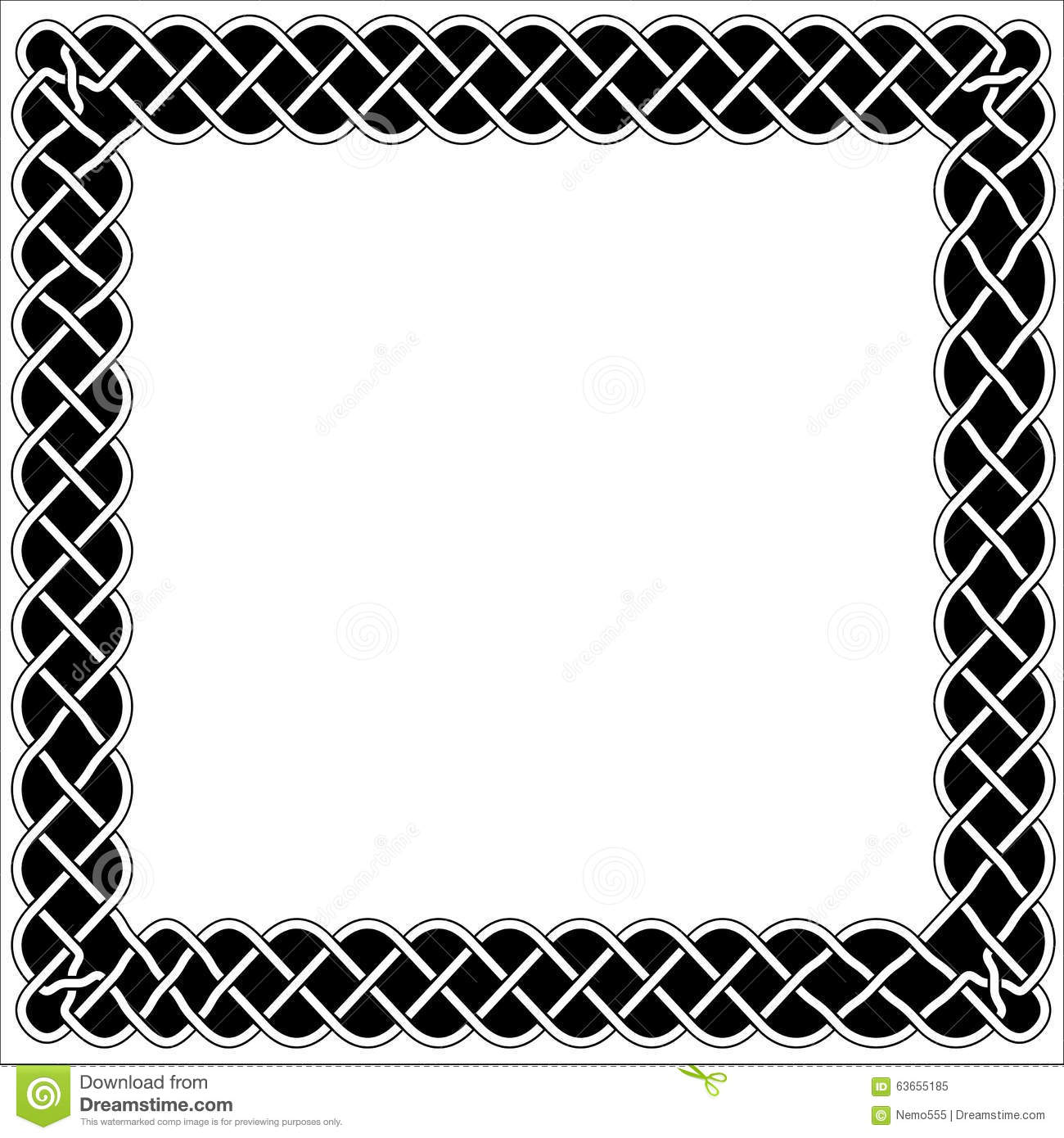 Frames, borders and black and white Celtic or Arabic style with knots ...