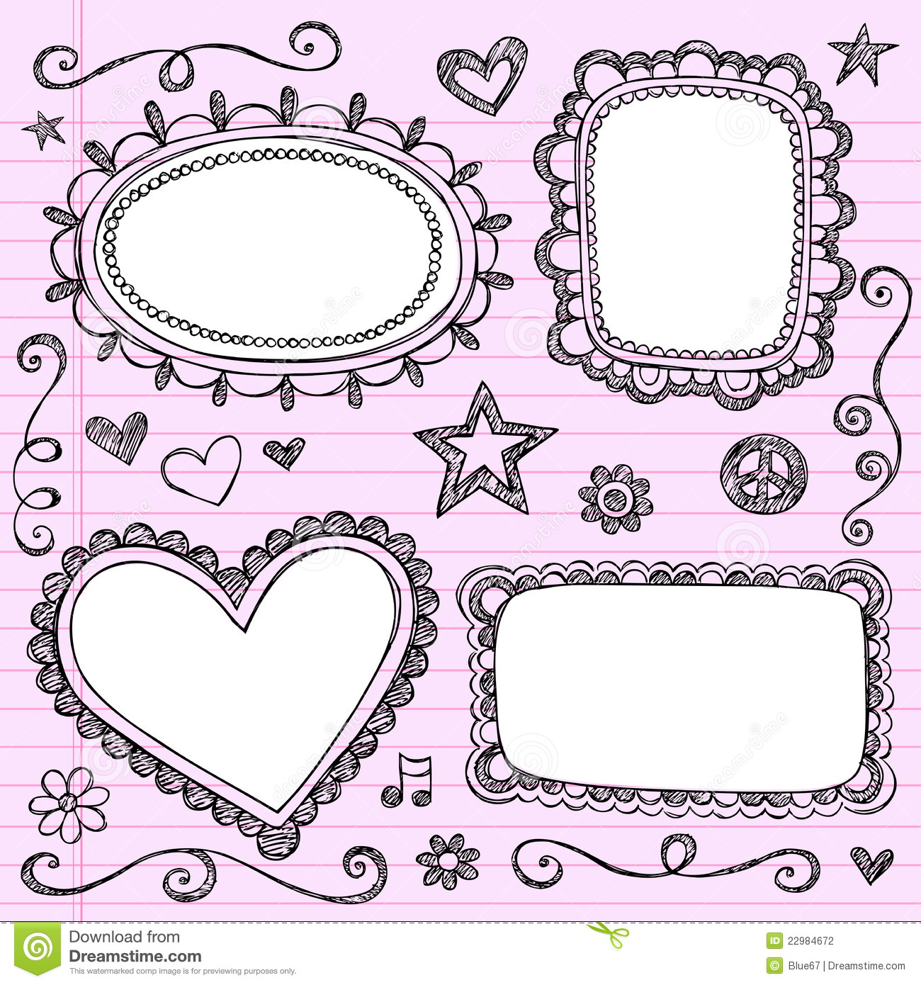Frames Borders Sketchy Doodles Vector Set Stock Vector ...