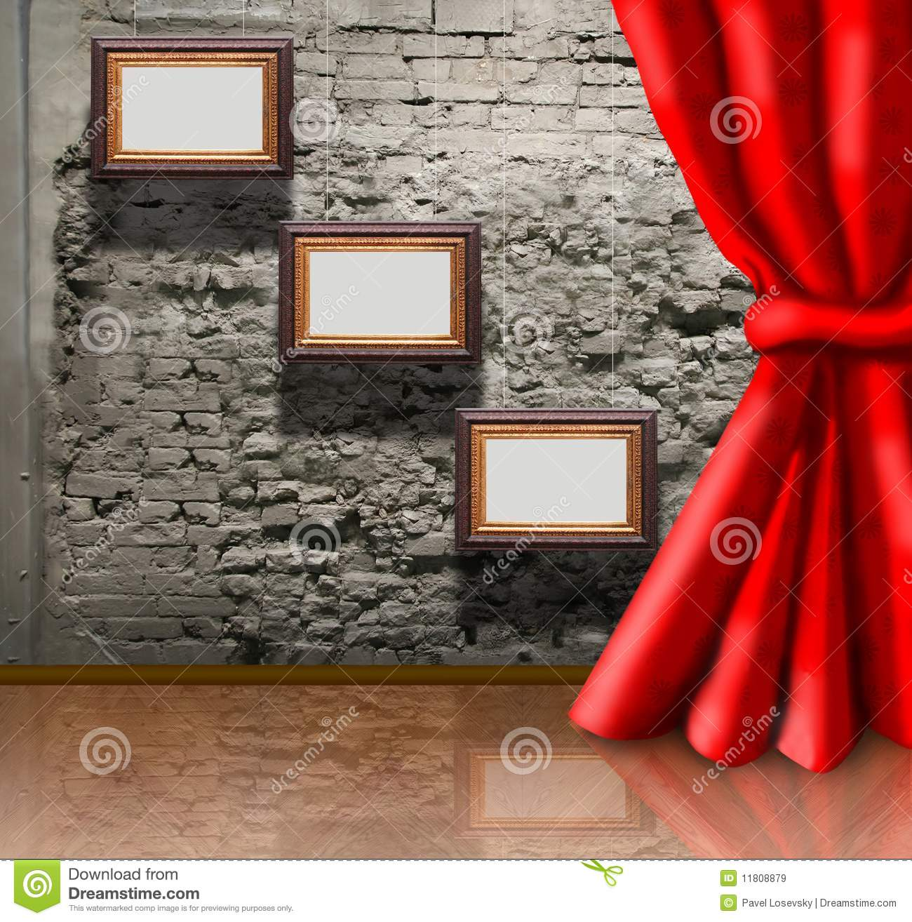 Frames On Brick Wall And Curtain Collage Stock Illustration ...