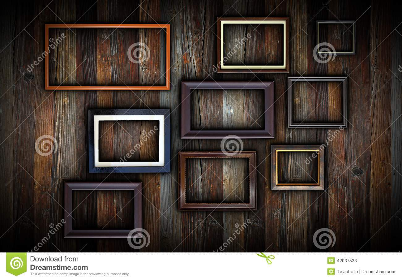 Frames On Dark Wooden Wall Stock Image Image Of Frame
