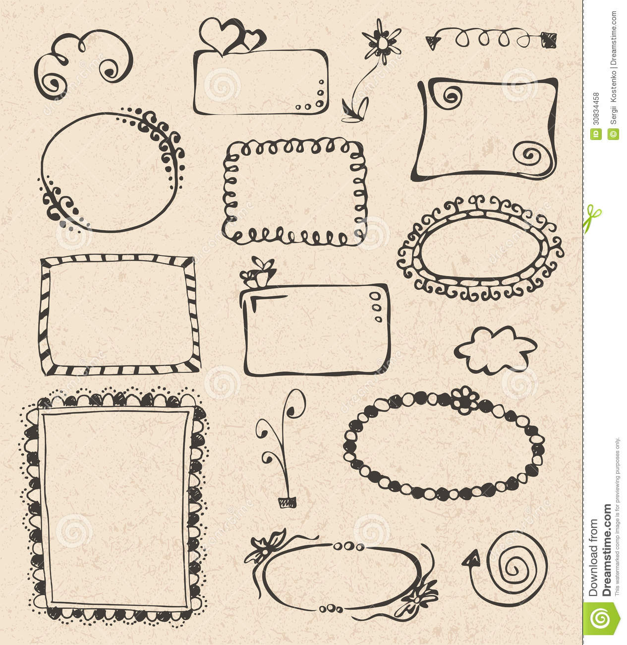Frames And Design Elements Collection Hand Drawn Stock Vector ...