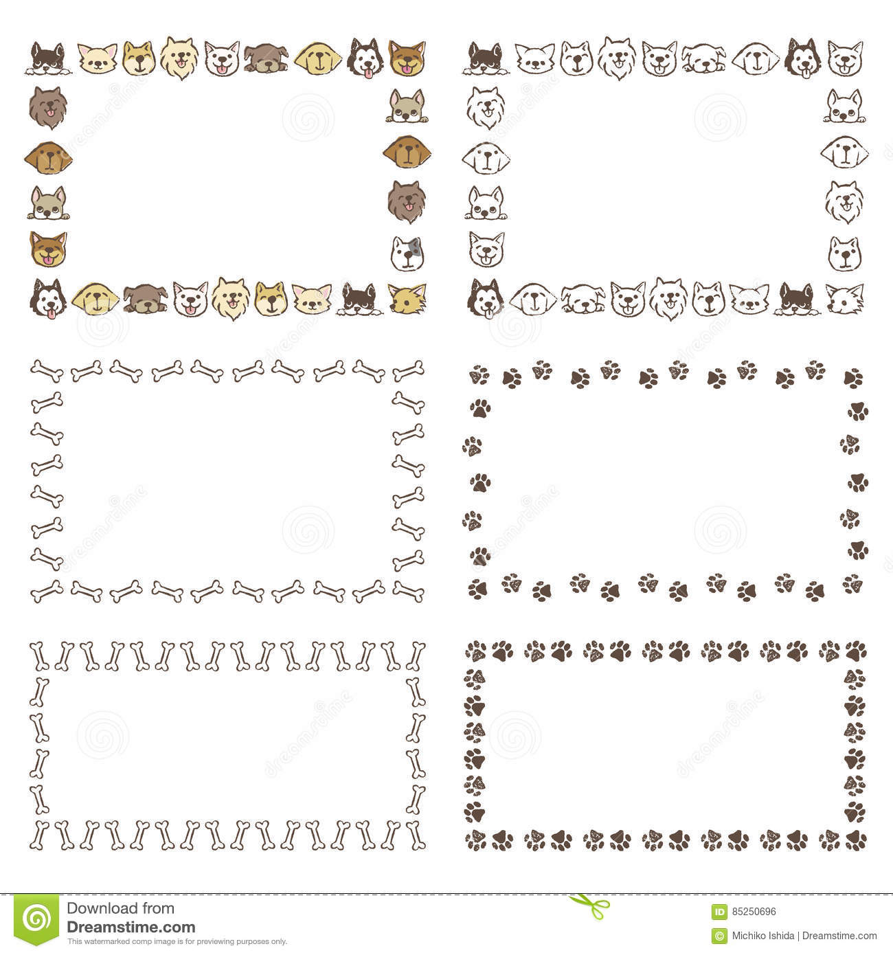 Frames With Different Type Of Dogs, Bones, Footprints Stock Vector ...