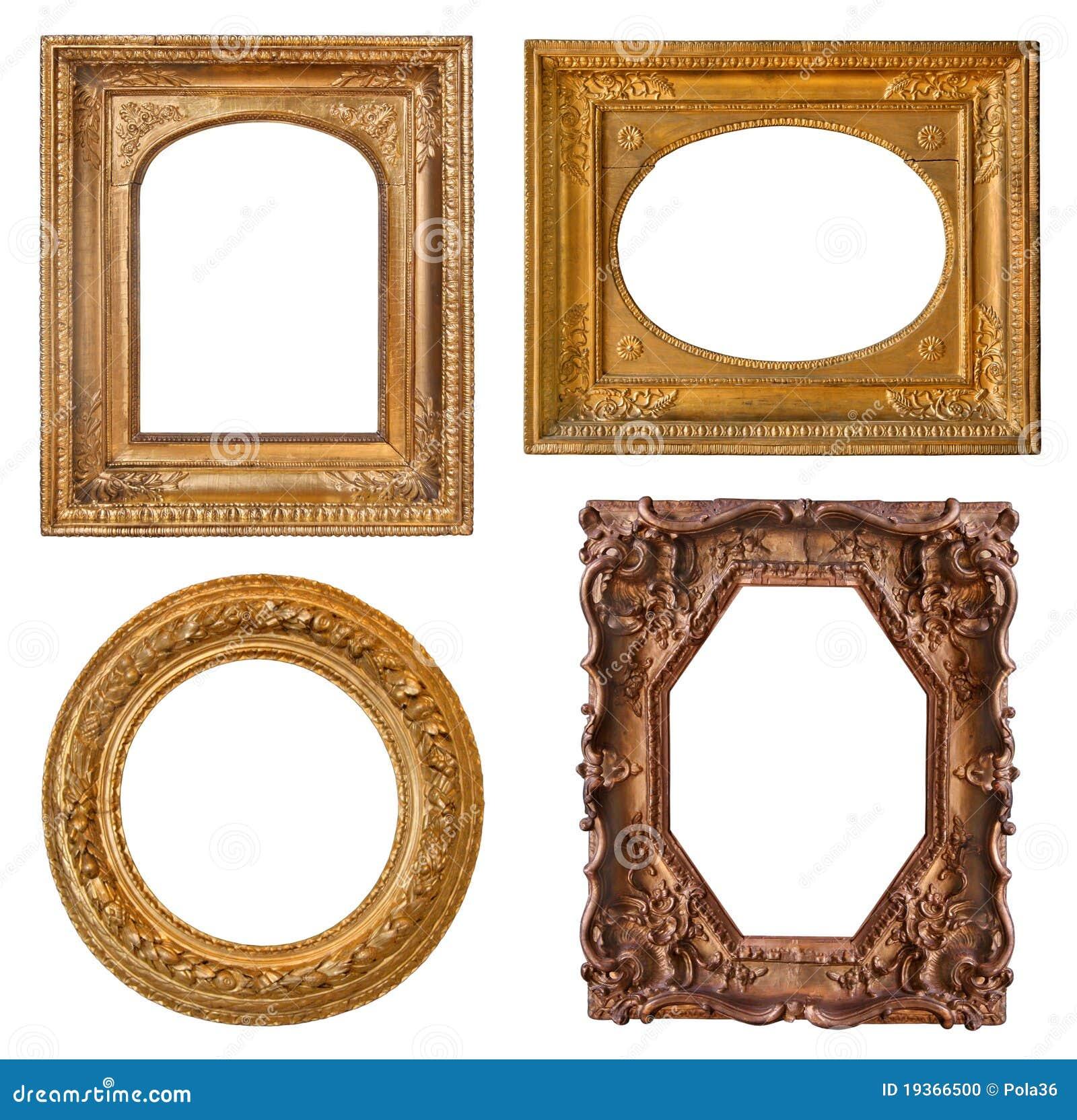 Frames dourados velhos da coleção