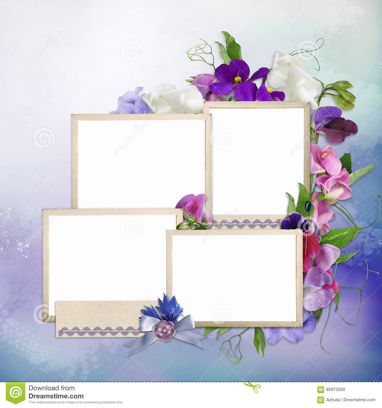 Frames For Family And Summer Flowers On Delicate Background Stock