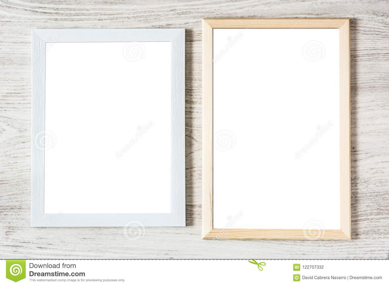 Frames Mockup On White Wooden Table. Stock Photo - Image of blank ...