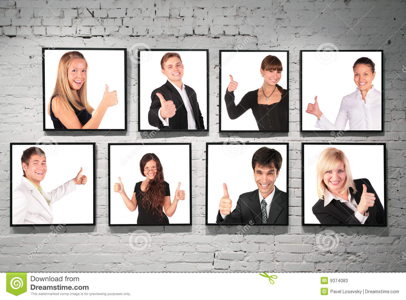 Frames With Ok Gesture People On White Brick Wall Stock Image ...
