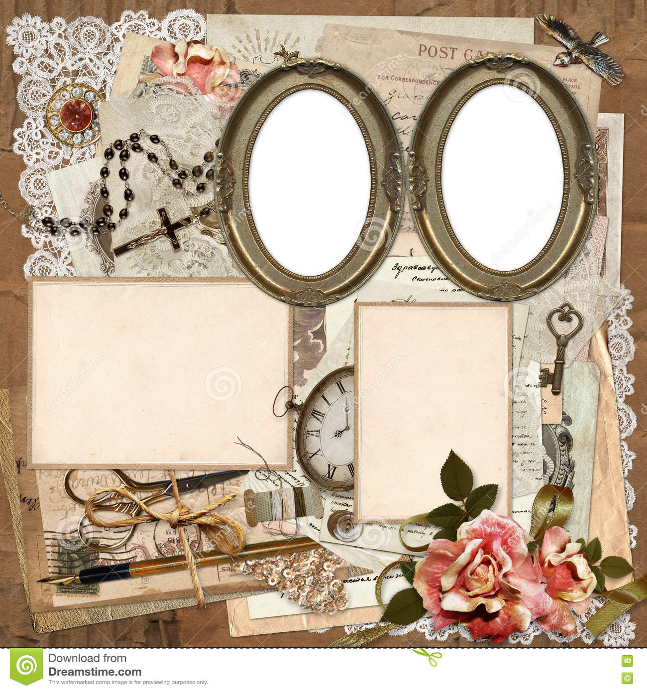 frames old documents money vintage decorations on a worn cardboard background