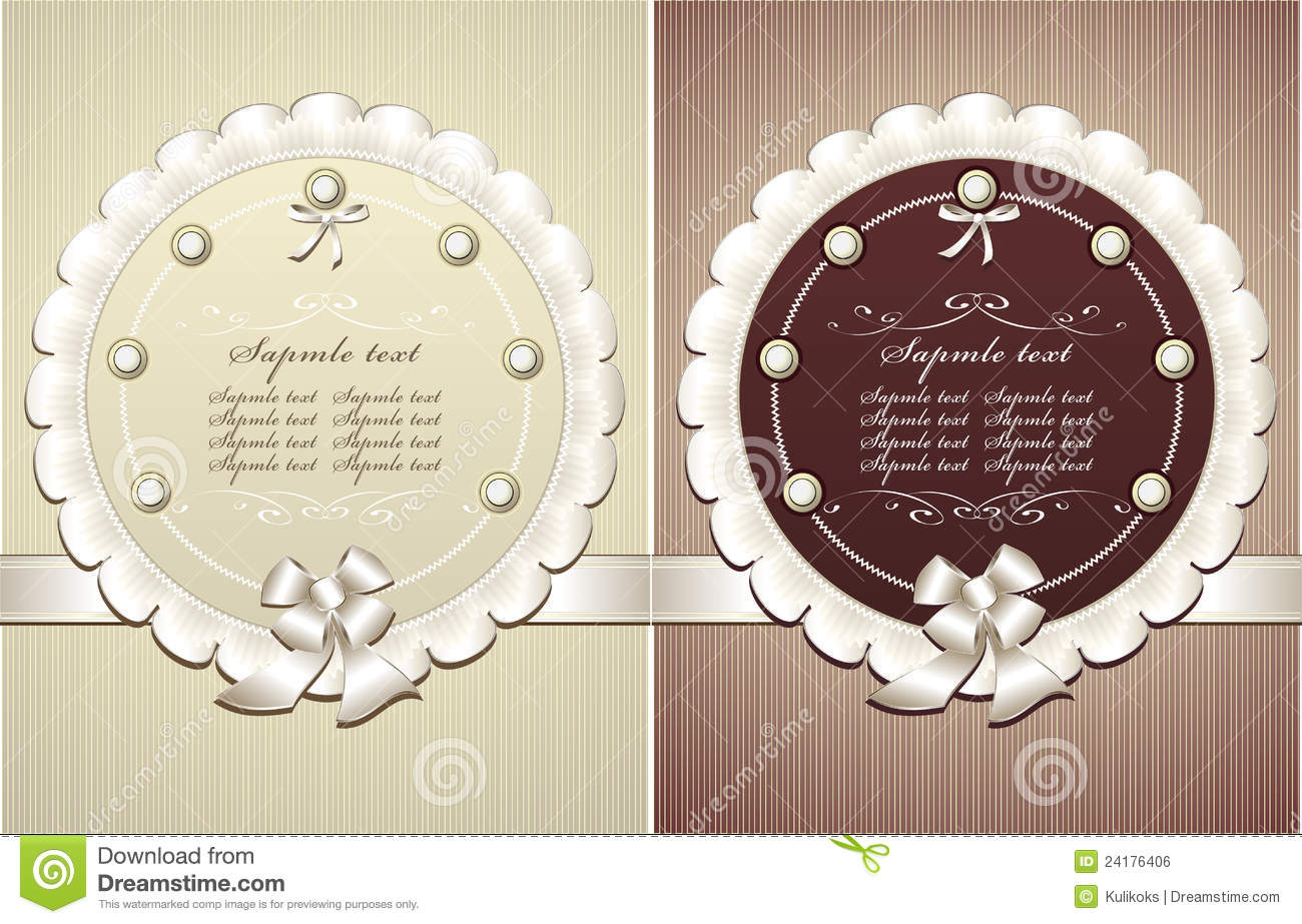 Frames With Pearls Bow In Retro Style Stock Vector - Illustration of ...