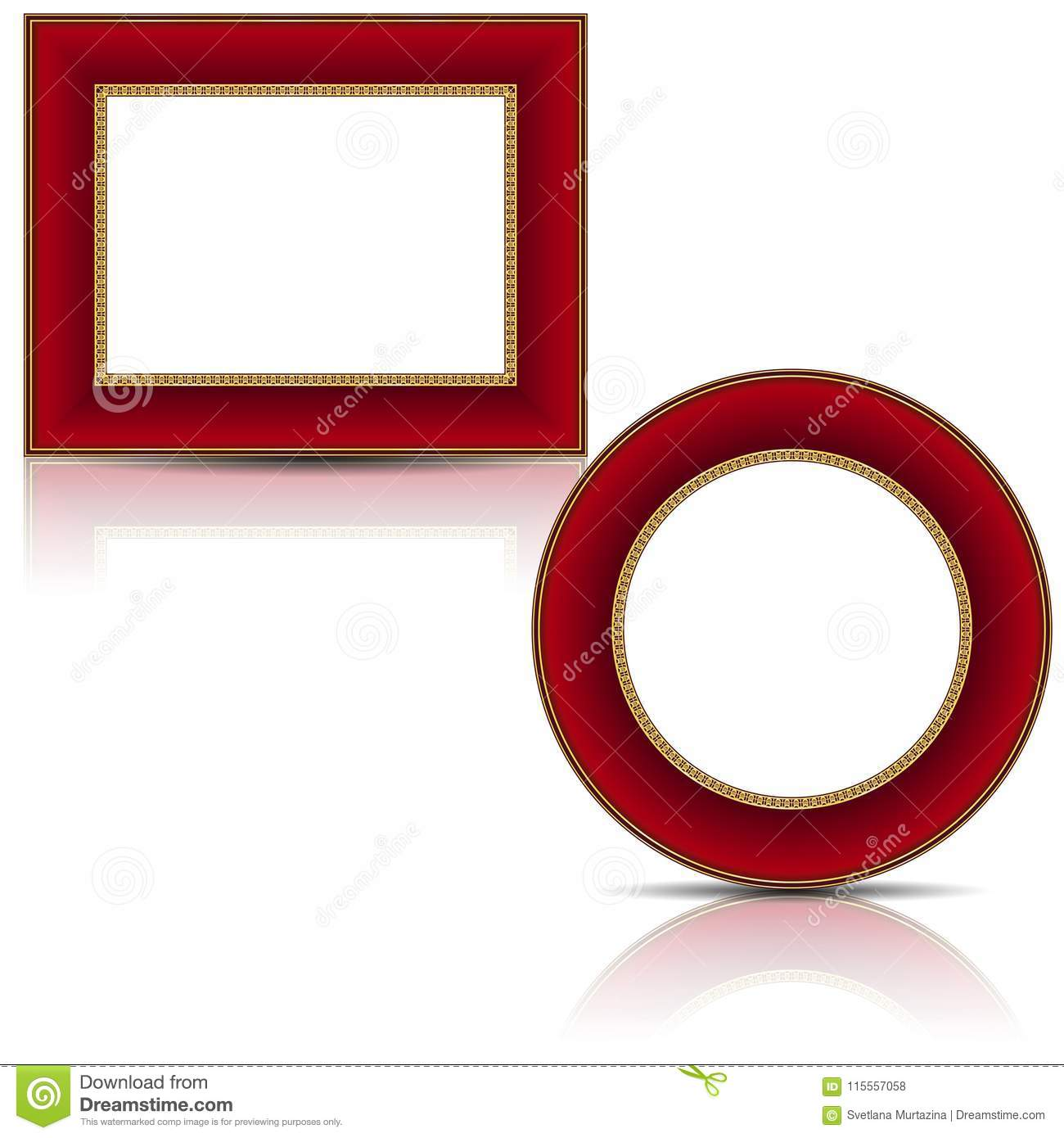 Frames Red And Gold Color With Shadow Stock Vector Illustration Of