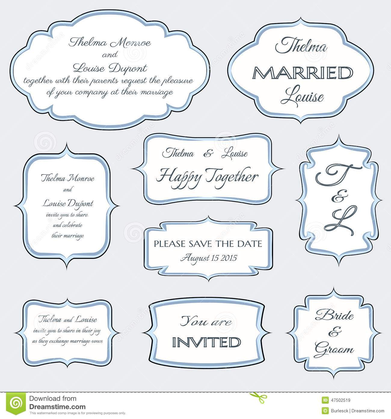 Frames for wedding invitation cards stock vector illustration of frames for wedding invitation cards stopboris Image collections