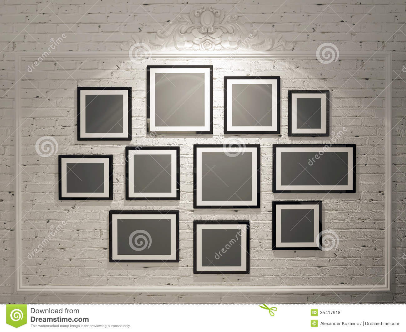 Images Of Picture Frames On A Wall Frames On White Brick Wall Royalty Free  Stock Photos