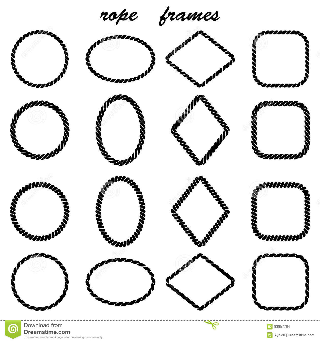Framework Collection Of Black Rope Stock Vector - Illustration of ...