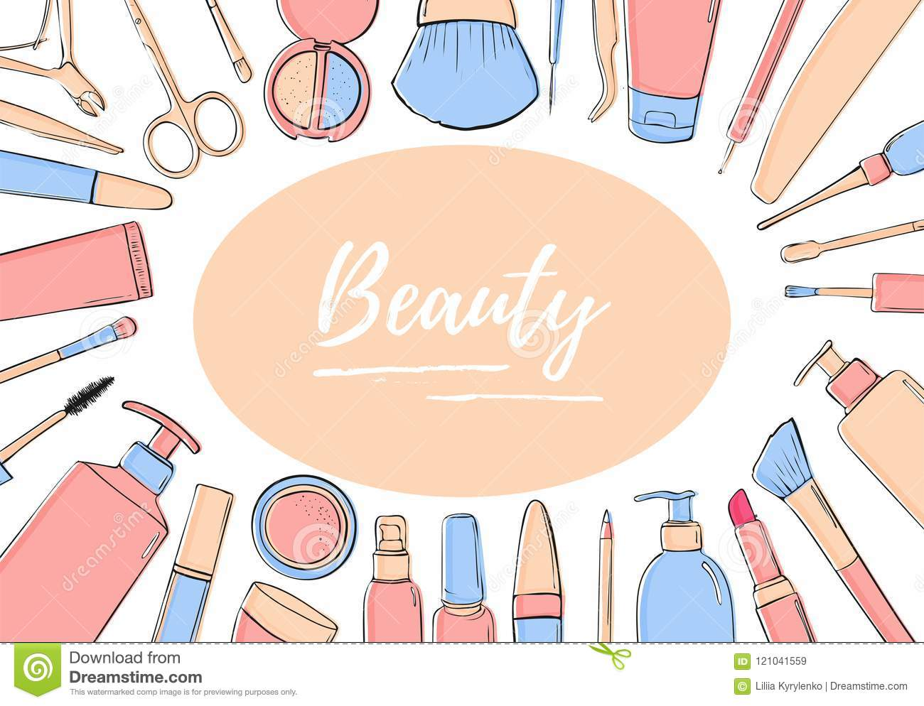 A Framework Of Cosmetic Products Pastel Blue And Pink Black White