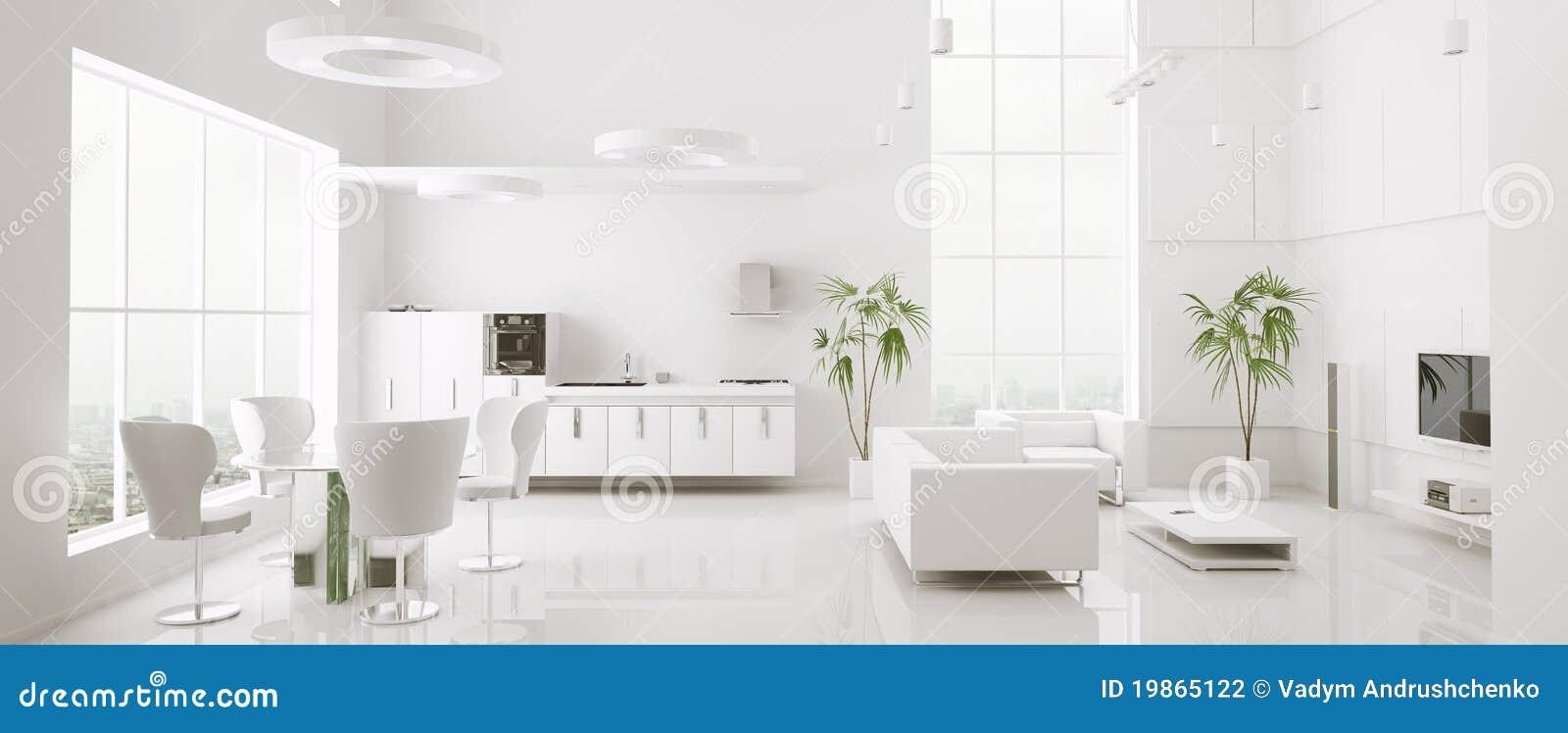 Framför den inre moderna panoramat för lägenheten 3d