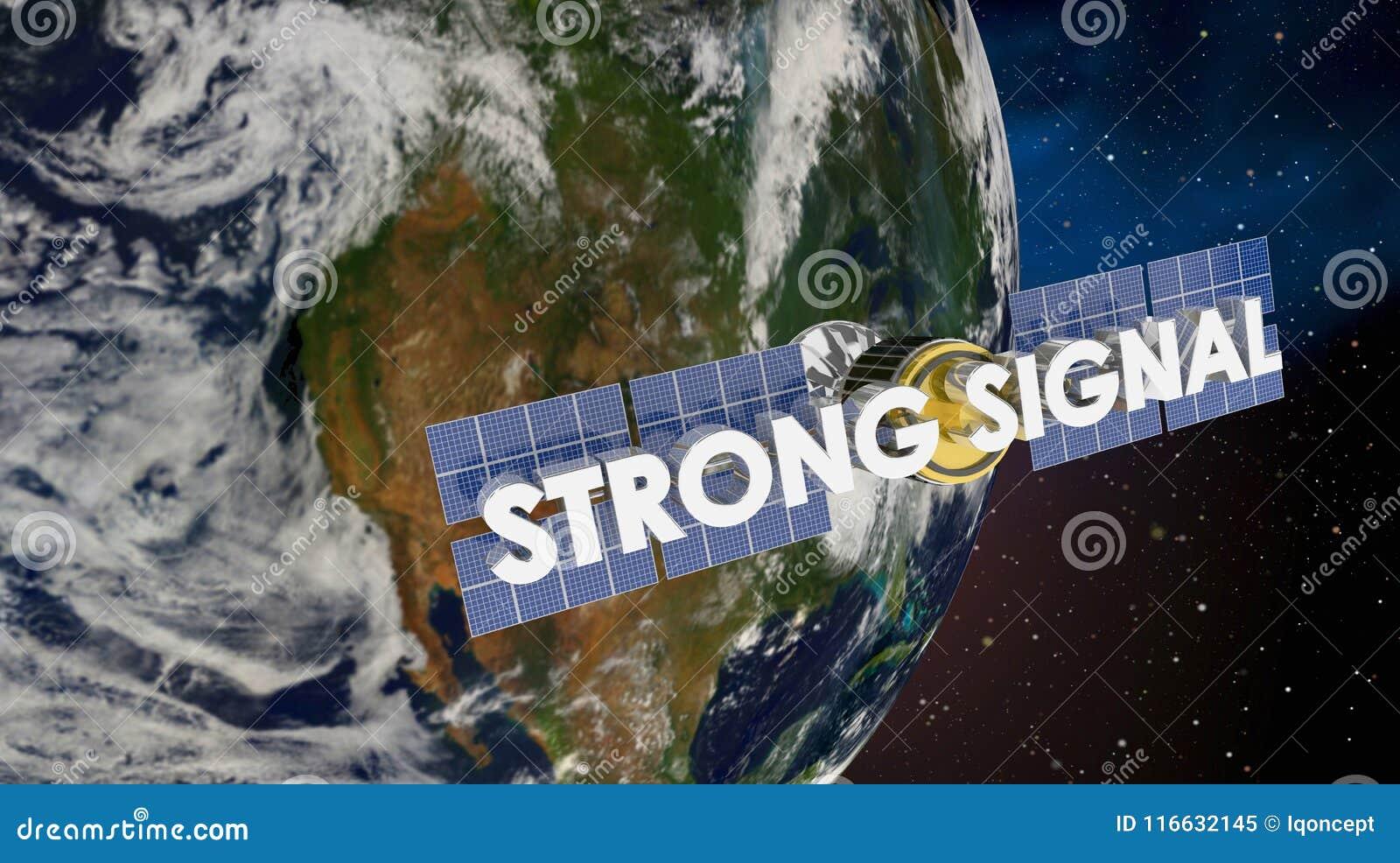 Framför satellit- jordtäckning 3d för den starka signalen illustrationen